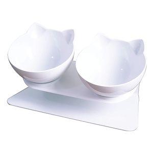 Doppelter   Katzennäpfe - 15° Futternapf Katzen,Rutschfeste Futterschüssel Hundenapf Schräg Doppelschüssel Anti-erbrechen-katzenschüssel für Katze Welpe(Weiß+Weiß)