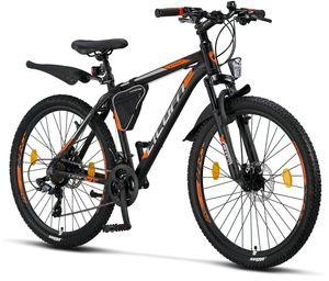 Licorne Bike Effect Premium Mountainbike - Fahrrad für Jungen, Mädchen, Herren und Damen - Shimano 21 Gang-Schaltung - Herrenrad, Farbe:Schwarz/Orange (2xDisc-Bremse), Zoll:26.00