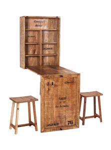 SIT Möbel Klapptisch mit 2 Hockern   Mangoholz lackiert natur antik   zusammenklappbar   B 60 x T 25 x H 80 cm   01930-04   Serie RUSTIC