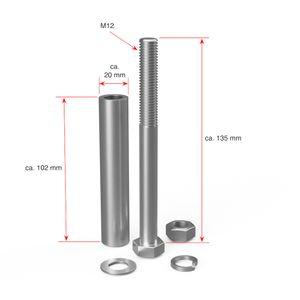1 x Achse 20 x 135 mm, M12, für Nabenlänge 100 mm, verzinkt
