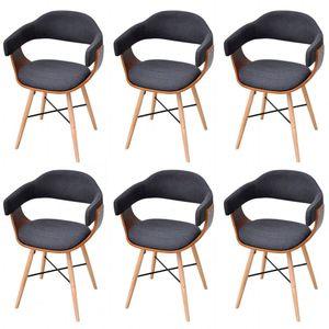 Hommie® Esszimmerstühle 6-er SET Loungesessel Wohnzimmerstuhl Stuhl Küche - Esszimmer im skandinavischen Dunkelgrau Bugholz und Stoff ❤3808