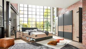 Schlafzimmer Komplett Set 4-tlg. STOCKHOLM Bett Kleiderschrank grau braun