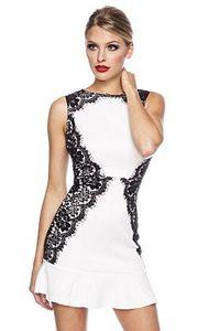 Atixo Kleid mit Spitze / Abendkleid / Cocktailkleid in weiß/schwarz Größe L;  13640