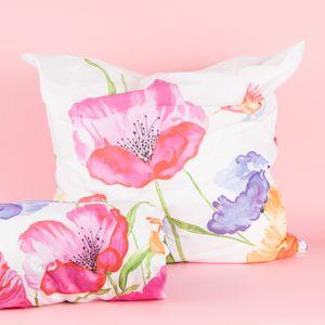 Bettwäsche große Blumen weiß rosa blau grün 135x200cm