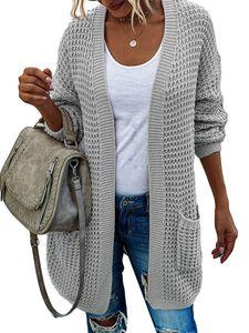 Lässige Strickpullover-Strickjacke für Damen mit langen Ärmeln,Farbe: Grau,Größe:M