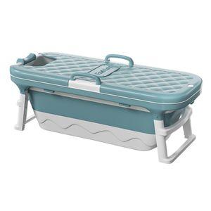 Faltbare Badewanne Baden Bad Barrel Spa Badewanne für Erwachsenes Kinder, 138x62x52 cm - Blau