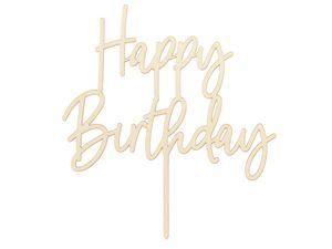Tortendeko Happy Birthday Holz