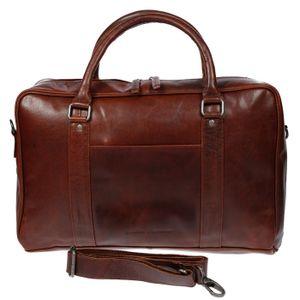 Christian Wippermann große Aktentasche Laptoptasche 15.6 Zoll  aus echtem Leder mit em RFID Schutz Braun