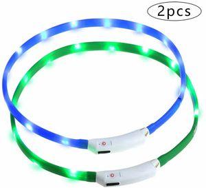 leuchthalsband Hund 2 Stück hundehalsband Leuchtend USB Wiederaufladbares und Längenverstellbareres Hunde Halsband mit DREI Beleuchtungsmodi für Hunde und Katzen