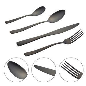 16teiliges Besteck-Set Löffel, Messer, Gabel, Kaffelöffel schwarz matt