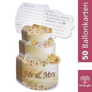WeddingTree 50 Ballonkarten Hochzeit Vintage - Hochzeitstorten Design - Gelocht