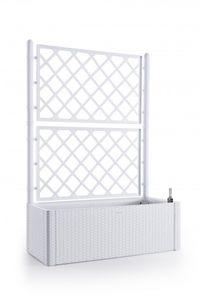 XL Rankgitte | Spalier im Rattan-Design in Weiß. mit Wasserspeicher, Größe: groß