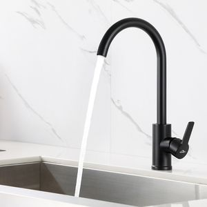 Schwarz Küchenarmatur Spültischarmatur 360° Wasserhahn Einhandmischer Spültisch Waschbecken Mischbatterie
