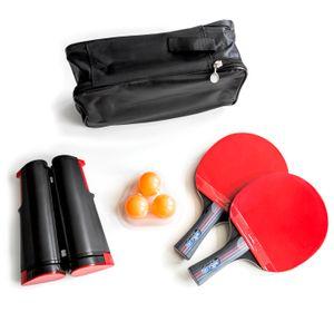 2 x Tischtennisschläger + Tischtennisbälle + Tragetasche + ausziehbares Tischtennisnetz Tischtennis-Set