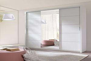 Selsey - Schwebetürenschrank ORDU 250 cm mit Spiegel, in Weiß