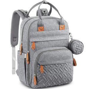 Wickeltasche Rucksack - Großer Wickelrucksack mit Multifunktions-Babytaschen und mobiler Wickelauflage (grau)