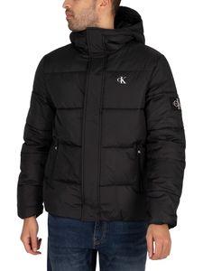 Calvin Klein Jeans Herren Kapuzenpufferjacke, Schwarz M