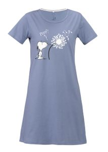 Peanuts Snoopy Damen Nachthemd-Kleid Schlafshirt, Farbe:Blau, Größe:L