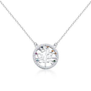 Maria-Schmuck Damen Lebenskette Lebensbaum Halskette aus 925 Silber mit bunte Zirkonia verstellbar 45cm