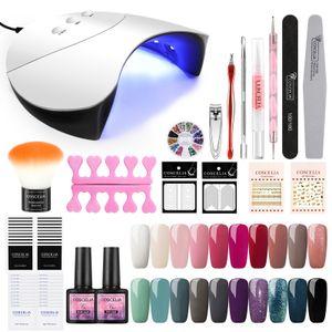 20 Farben UV Nageldesign gellacken Set mit 36W UV/LED Lampe Nagellack uv Gel Polish Farbenset  für Nagel-Design