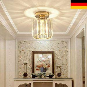 Kristall Deckenleuchte Kronleuchter Deckenlampe Lüster Leuchte LED Pendelleuchte E27 Ø15.2cm Kristallen Licht