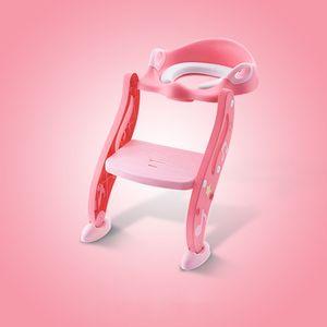 Toilettentrainer Kinder Toilettenstuhl Toilettensitz mit Treppe WC Sitz, Farbe: Pink