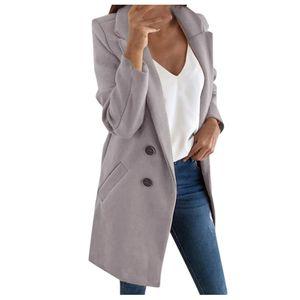 Frau langer Wollmantel Elegante Mischmäntel Schlanke weibliche lange Mantel Oberbekleidung Jacke Größe:L,Farbe:Grau