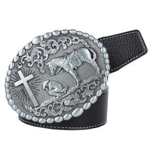 Cowboy Stil Trachtengürtel mit Oval förmig Schnalle Zeitlos Geschenk für Schwarz 120cm Jahrgang