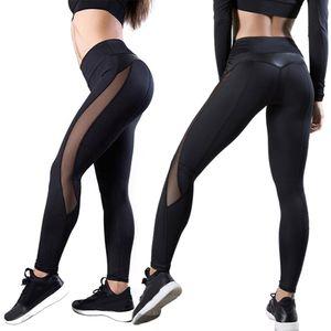 Frauen Elastic High Waist Fitness Gym Workout Leggings Yoga Roehrenstrumpfhose M.