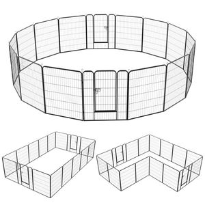 Yaheetech 16 eckig Welpenauslauf Welpenlaufstall Freigehege Welpenzaun Gehege mit 2 Türen je Panel 80 x 100 cm