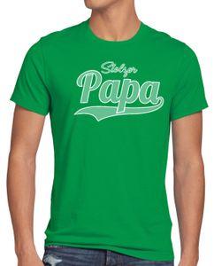 style3 Stolzer Papa Herren T-Shirt Vater Dad Spruchshirt Funshirt, Größe:S, Farbe:Grün