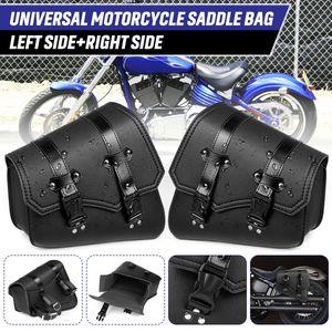 AUDEW Paar Universal Motorrad Satteltaschen Seiten Gepäcktasche Kunstleder Wasserdicht