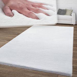 Wohnzimmer Teppich Weich Shaggy Hochflor Soft Waschbar Modern Einfarbig Weiß, Größe:80x150 cm