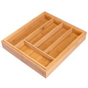 bremermann Besteckkasten ausziehbar // Bambus // ca. 29,5 - 45 x 33 cm Schubladeneinsatz Besteckeinsatz