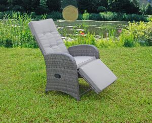 2x Garden Pleasure Relaxsessel Garten Terrasse Sessel Möbel Rattan Optik grau