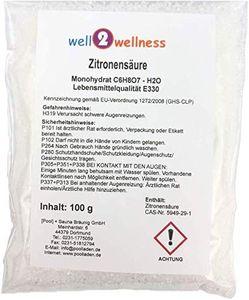 well2wellness Zitronensäure Pulver Monohydrat E330 Lebensmittelqualität 100g Beutel