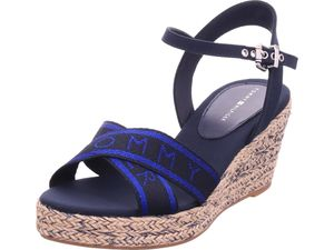 Tommy Hilfiger Metallic Mid Wedge Sandal Damen Sandalette in Blau, Größe 40