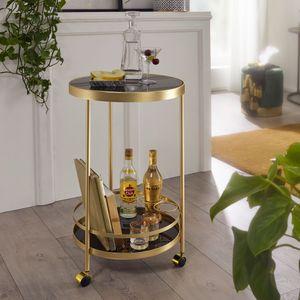 WOHNLING Design Servierwagen Gold Rund Ø 45cm 2 Ebenen | Beistelltisch auf Rollen mit Glasplatte Schwarz Speisewagen | Küchenwagen | Teewagen