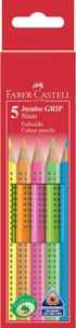 FABER-CASTELL Dreikant Buntstifte Jumbo GRIP 5er Etui Neon