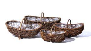 Gemüsekorb Weidenkorb oval Größe 62 cm mit Folie Kartoffelkorb Holzkorb Brennholzkorb Bauernkorb