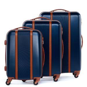 FERGÉ 3er Kofferset MILANO ABS Dure-Flex blau-braun 3er Hartschalenkoffer Roll-Koffer 4 Rollen Kofferset Hartschale 3-teilig
