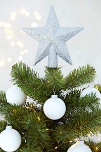 Christbaumspitze Weihnachtsstern aus Kunststoff - Weihnachtsbaumspitze Weihnachtsdeko - Weiß
