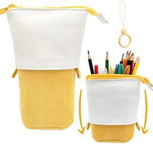 Pop Up Pen Pencil Case Teleskophalter Mäppchen, PolyurethanCord Stand-Up Federmäppchen Mädchen, ideal für Studentinnen Spring Makeup Bag Pencil Bag