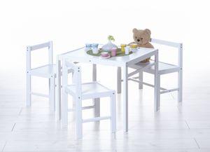 TiCAA Kindersitzgruppe Kindertisch 4 teilig Kiefer massiv