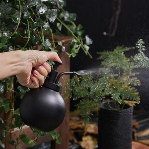 Gießkanne Edelstahl 500ml Blumensprüher Pflanzen Sprühflasche mit Druckerspumpe für Pflanzen Hof und Büro Bewässerung, Friseur (Schwarz)