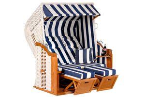 Rustikal Strandkorb 250 Plus 2-Sitzer XL, Halblieger Ostseeform, Geflecht weiß, Strukturpolyester blau-weiß-gestreift, Fichtenholz lasiert, ca, 145x90x160
