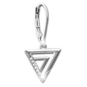 SilberDream weiß Ohrringe Dreiecke Zirkonia Damen 925 Silber Ohrhänger SDO4315W