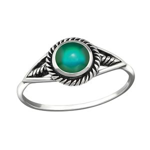 Stimmungsring echt Silber 925 Mood Ring, Ringgrösse:55 (17.5 mm Ø)