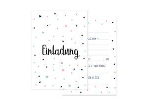 Friendly Fox Einladung Dreiecke - 12 Einladungskarten zum Geburtstag Kinder Teenager Mädchen Jungen - Karten mit Umschlag - Partyeinladung - modernes Design - Triangles (mint)