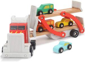Autotransporter Spielzeug Holz, LKW Spielzeug mit Anhänger und 4 Holzautos, Autos Spielzeug 2 3 Jahre Jungen Geschenk
